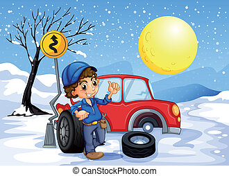 A boy repairing a car in a snowy area - Illustration of a...