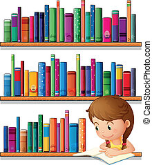 A young girl reading in the library - Illustration of a...