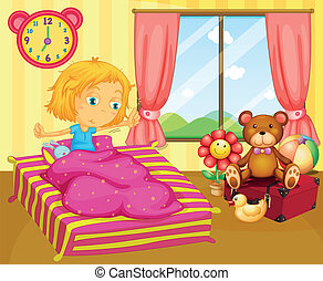 A young girl waking up - Illustration of a young girl waking...