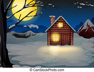 A wooden house in a snowy area
