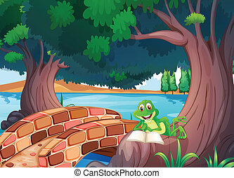 A frog reading under the tree beside a bridge - Illustration...