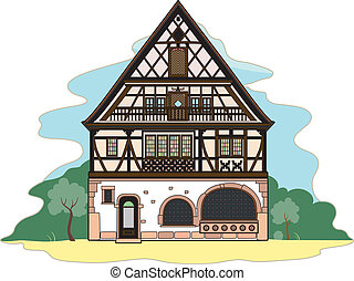 Old typical house - Vector illustration of a typical house,...