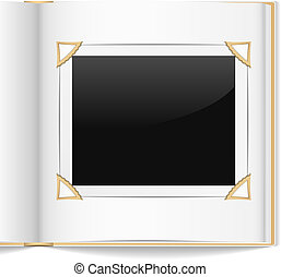 Photo Album - Open photo album on white background, vector...