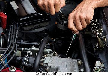 auto repair concept - Professional car mechanic, auto repair...