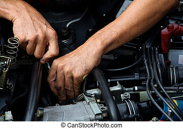 auto repair concept - Professional car mechanic, auto repair...