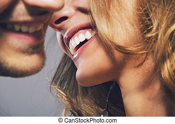 Close up photo of cheerful young couple - Close up photo of...