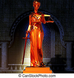 concept of justice - Lady of justice in spotlight - concept...