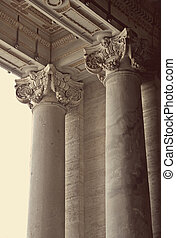 Corinthian columns of St. Peter's Basilica in Vatican, Rome,...