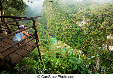 Viewpoint at Cascades National Park in Guatemala Semuc...