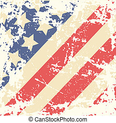 Retro Background with American Flag - Retro background with...