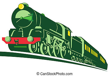 Steam locomotive - Illustration on rail transport isolated...