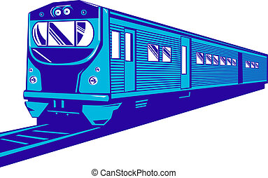 Passenger train - Illustration of a passenger train isolated...
