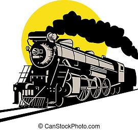 Vintage locomotive - Illustration on rail travel and...