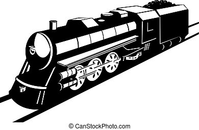 Steam engine - Illustration on rail travel and transport