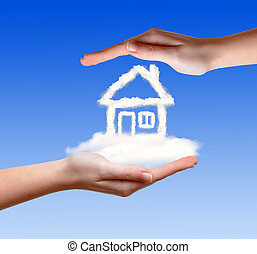 house from clouds in the hand