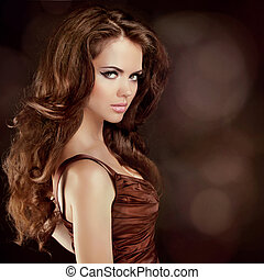 Hair. Beautiful Sexy Brunette Woman. Healthy Long Brown...