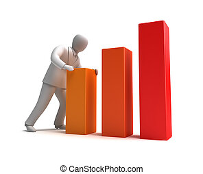 Businessman and rising graph