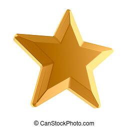 Gold star over white