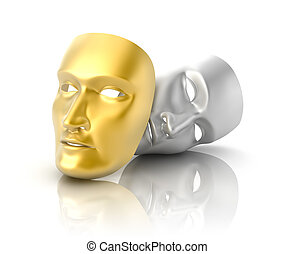 Theatrical mask on a white