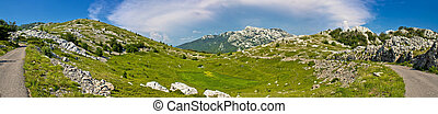 Velebit mountain wilderness panoramic view, Crnopac peak,...