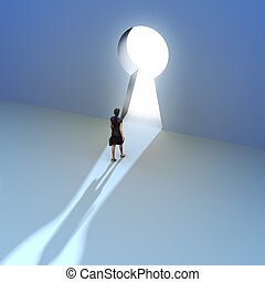 Key to success - Female walking to the entrance of a keyhole...