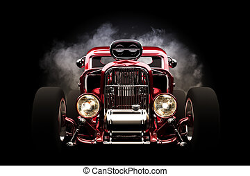 Hot rod with smoke background, 3d model