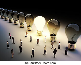 large group of people with a few m - Light bulbs in a row...