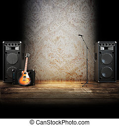Music stage or singing background - microphone, guitar and...