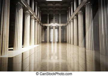 Column interior empty room - law or government background...