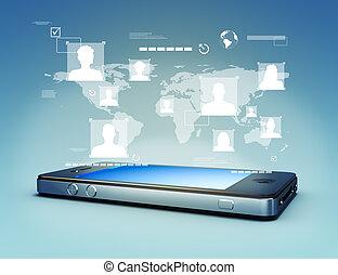 toque, Mídia, tela, modernos,  Technolog