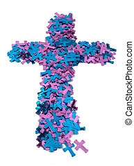 Purple and Blue Cross - A blue and purple cross made of...