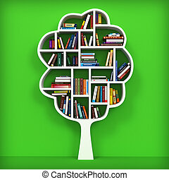 Tree of knowledge Bookshelf on white background 3d