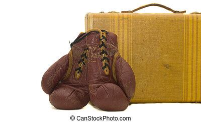 Boxing Gloves Suite Case - old boxing gloves leaning up...