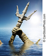 Statue of Neptune or Poseidon's arm holding trident coming...