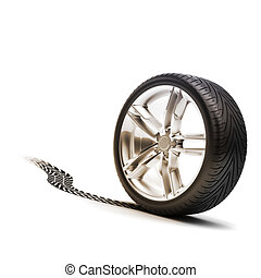 Tire and rim with tread on a white background