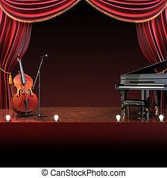 Orchestra symphony themed stage with room for text or copy...
