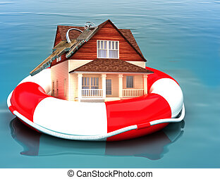 Home floating on a life preserver. Symbolizing a recovering...