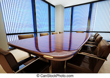 Business office conference room with table and leather...