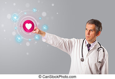 Middle aged doctor pressing modern medical type of button