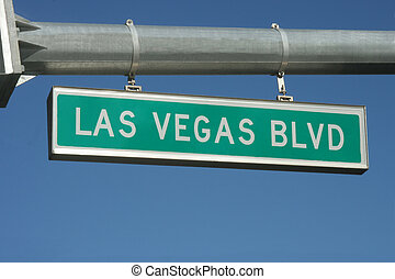 Las Vegas Sign - A Las Vegas Blvd street sign hanging from a...