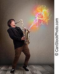 coloré, vapeur, résumé, musicien, jeune, comming, saxophone,...
