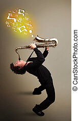 Handsome musician playing on saxophone with musical notes