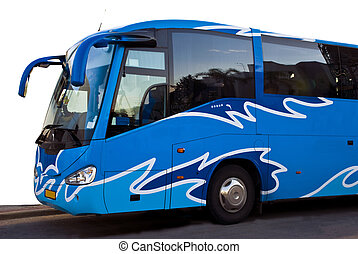 Blue bus - Front side of a blue tour bus over white