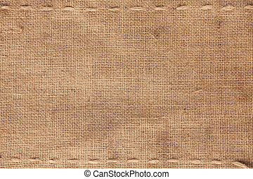 The two horizontal stitching on the burlap as background