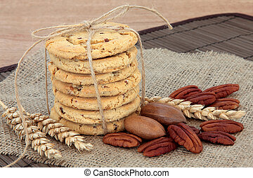 Pecan Cookies - Pecan chocolate chip cookie stack with nut...