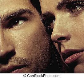 Close up portrait of young couple - Close up portrait of...