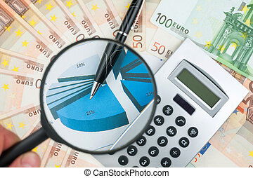 Hand with magnifying glass over a calculator, pen and money