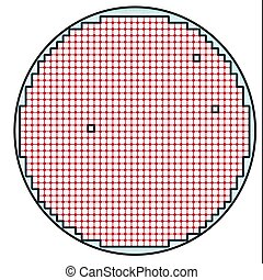 Semiconductor wafer map test result illustration with few or...