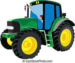 zielony, rolniczy, traktor