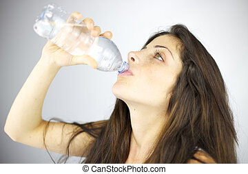Woman drinking fresh water - Good health and fresh water...